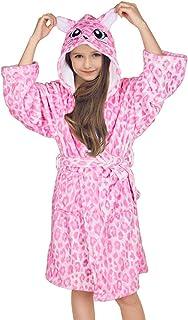 FIOBEE Kids Bathrobe Fleece Sleepwear Girls Flannel Robe Hooded Sleep Robe for Party