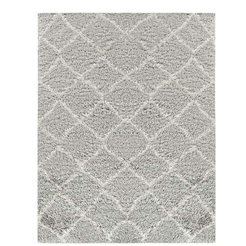 Wyatt & Ash Light Gray/Ivory 3.25 ft. x 5 ft. Diamond Trellis Shag Area Rug