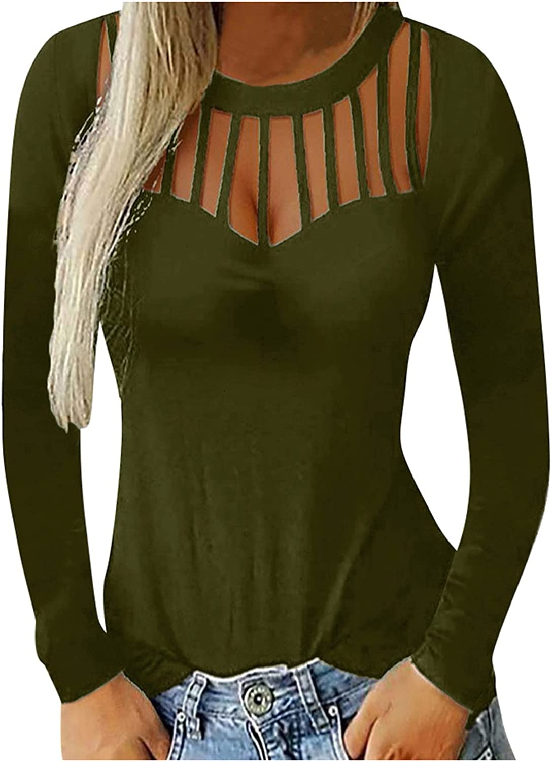 SZITOP Women Tops, Solid Sexy Hollow Autumn Winter Fashion Casual Long Sleeve Round Neck Shirt Sweater Sweatshirt Pullover