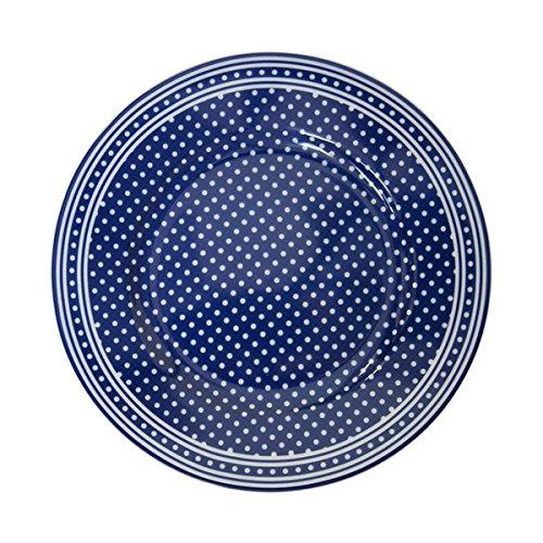 Krasilnikoff - Teller/Kuchenteller/Frühstücksteller - dunkelblau - weiß - gepunktet - Ø 20 cm