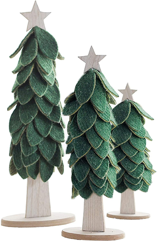 Christmas Tree RENRUIRUI- Deluxe Desktop 3Pcs Home Felt Handmade Easy-to-use Green