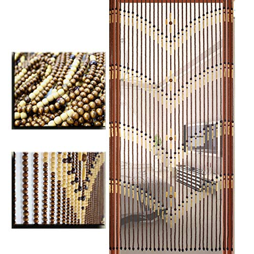 Door Strings Curtain with Solid Wooden Beads, Hanging Beaded Curtain with 31 Strands, Rustic Doorway Curtain Decorative for Hallway Living Room Kitchen Closet Room Divider, 90 x 180 cm