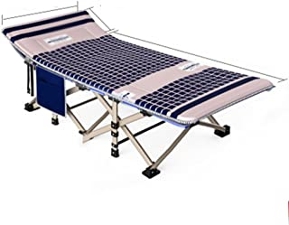 Loungers Outdoor Folding Bed Single Bed Siesta Bed Simple Cloth Bed Camping Bed accompanying Bed 190 * 67 * 35cm (Color : Beige)