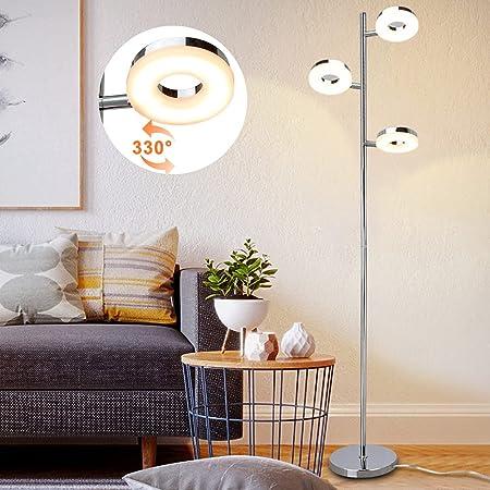 PADMA Lampadaire LED 12 W pour salon avec 3 ampoules, lampe sur pied orientable avec interrupteur à pied, blanc chaud 3000 K, 960 lm, 3 x 4 W pour chambre de lecture, chambre à coucher, bureau