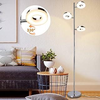 PADMA Lampadaire LED 12 W pour salon avec 3 ampoules, lampe sur pied orientable avec interrupteur à pied, blanc chaud 3000...
