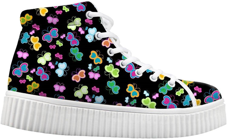 Mumeson Vintage Cute Butterfly Print Women Fashion Sneakers High Top Platform shoes