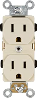 Morris Products Industrial Grade Duplex Receptacle - White, 20 Amp, 250 Volt – Shallow Design, 2 Pole, 3 Wire – GE Lexan, Steel Mounting Strap – UL Listed