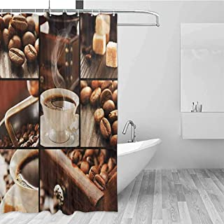 GloriaJohnson Brown Extra Long Shower Curtain Vintage Coffee Beans and Mugs Tropical Shower Curtain W72 x L72 Inch