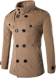 Romantc Mens Double Breasted Stand-up Collar Solid-Colored Zipper Wool Trench Coat