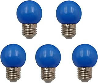 JCKing (Pack of 5) E26 Screw Cap Base Golfball Lamps Coloured Light Bulbs for Patio Party Christmas - Blue