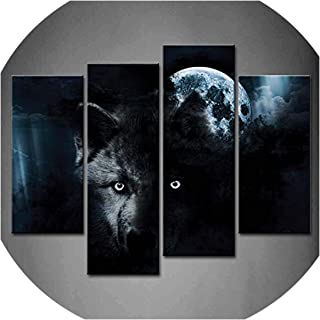 three thousand 4 Panels Wall Art Black Wolf and Full Moon Painting The Picture Print On Canvas Animal Pictures for Home Decor Decoration,30X60Cmx2Pcs 30X80X2,Unframed