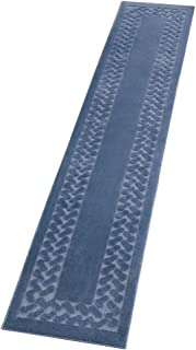 Collections Etc Herringbone Carpeted Runner Rug, Solid-Colored with Plush Decorative Trim Accents and Skid-Resistant Backing for Long Hallway, Blue, 22