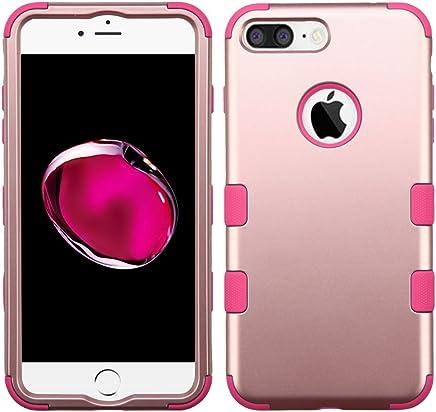 Funda Case para iPhone 7 Plus Doble Protector de Uso Rudo Funda Anti Impactos Resistente a Caídas (Rose Gold con Rosa)