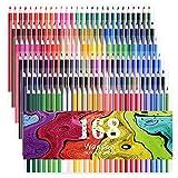168色セットの中に蛍光ペン 8色、金属ペン 12色すぐに使える 塗り絵の本のためにデザインされて、アティスト鉛筆画のスケッチ 大人向けの色鉛筆