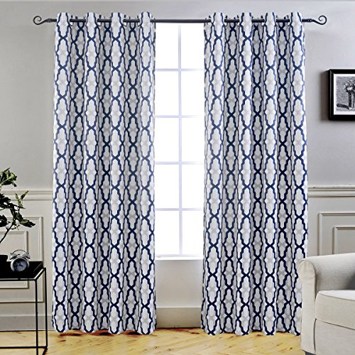 DriftAway Mason Thermal Blackout Grommet Window Curtains Geometric Trellis Pattern 2 Panels Each 52 Inch by 84 Inch Navy