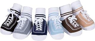 Baby Emporio, 6 pares de calcetines para bebé niño - con diseño de zapatos-suelas antideslizantes - algodón- regalo recién nacido