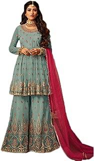 Shafnufab WOMEN'S Net Anarkali Semi Stitched Gown Salwar Suit (designer_partywear_salwarsuit_SF16161 Turquoise Free Size)
