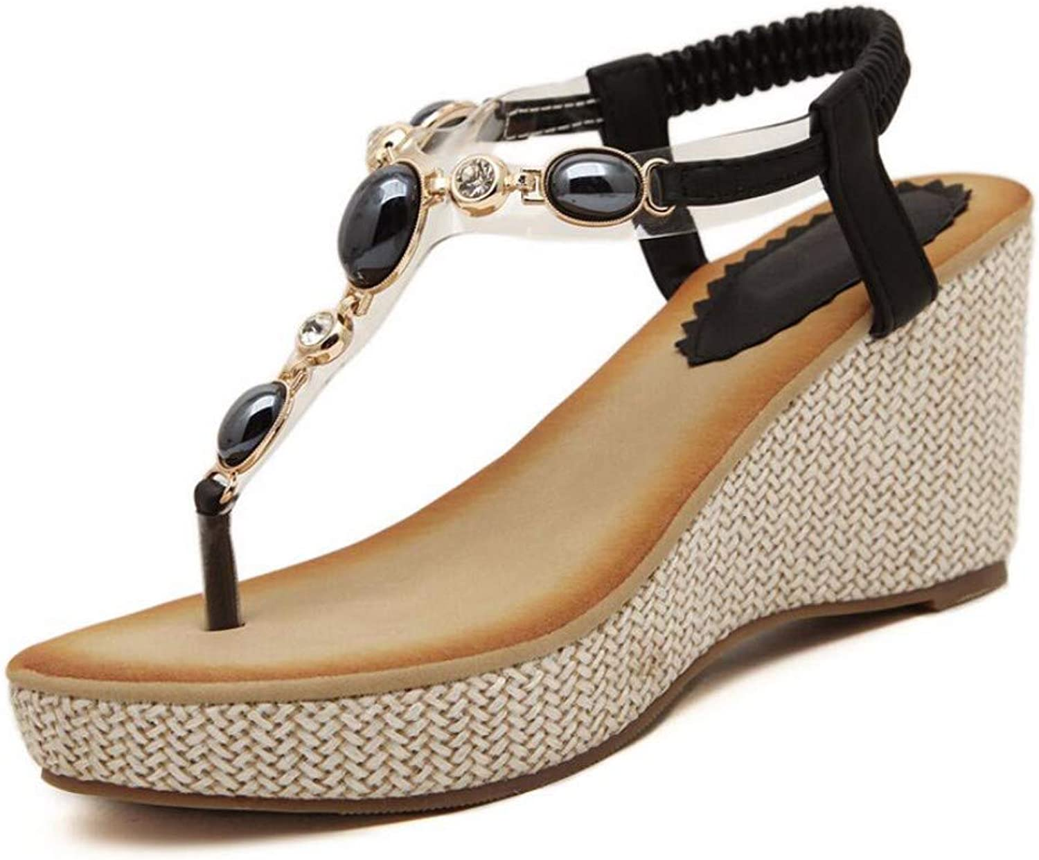 ZPSPZ sandals womens Lady Slope-Heeled Summer Open-Toed Sandals Bohemian Drill-in Girls'shoes