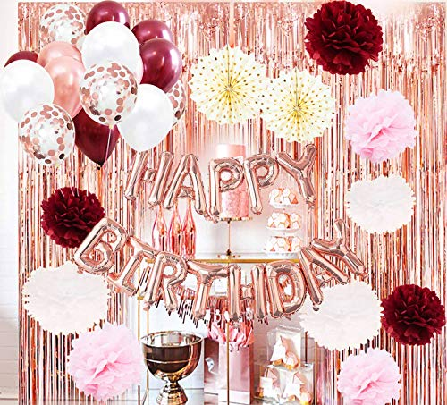 Women Birthday Party Decorations Rose Gold Burgundy/HAPPY BIRTHDAY Ballons Rose Gold Foli Curtain Polka Dot Fans for Rose Gold Birthday Decorations Women 16th/18th/20th/30th Birthday Party Supplies