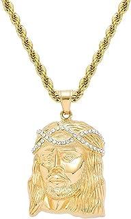 Hiphop Necklace, Hip Hop iced خارج يسوع الرمزية 18K الذهب مطلي سلسلة قلادة للرجال النساء
