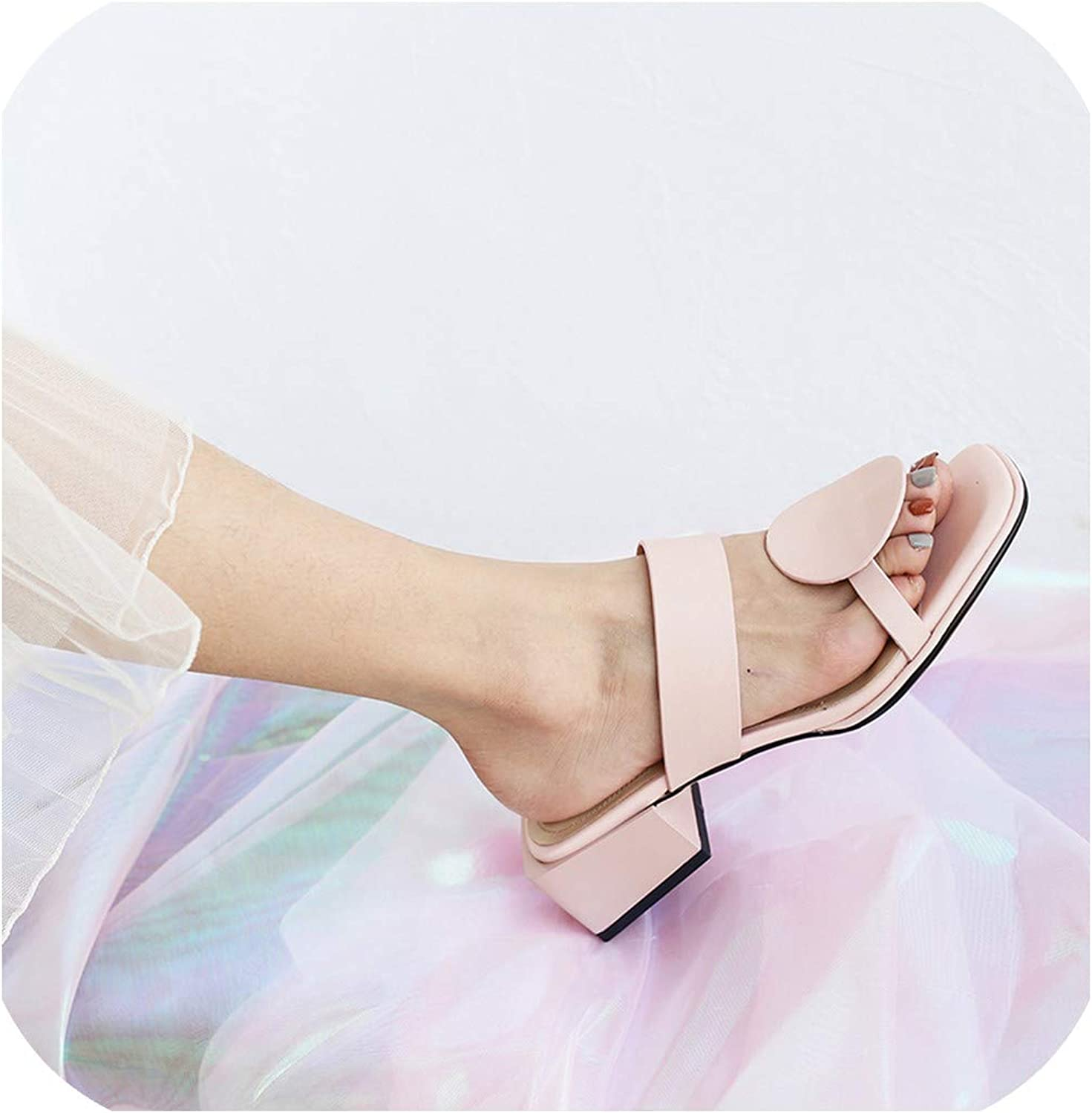 Women Slippers Square Heels Slipper Open Toe Women Sandals Pink bluee Ladies Casual shoes