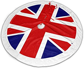 FriendEver British Flag Christmas Tree Skirt Plush Border for Christmas Decorations, Holiday Decorations, Indoor and Outdoor Home Decor Gifts (36 Inches)