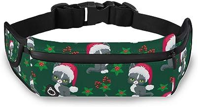 Kerst Leuke Kat Taille Pack Tas voor Fietsen Fitness Oefening Waterdichte Verstelbare Workout Fanny Pack Vrouwen Mannen Ru...