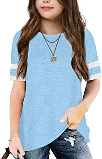 Apbondy Girls T-Shirts Short Sleeve Summer Basic Tees Top Strip Round Neck Tunic Shirt Blouse