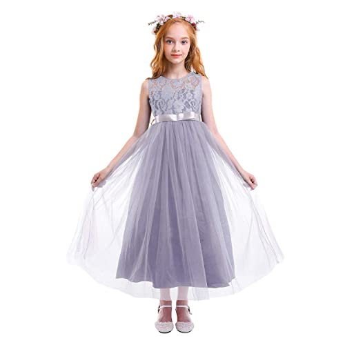 Flower Girls Lace Tulle Dress Wedding Bridesmaid Communion Evening Party  Bowknot Princess Dress Floor Length Formal 6e77c9f9e1c0