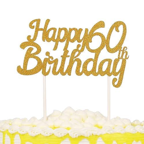 PALASASA Gold Glitter Happy Birthday 60 Cake Topper Decoration