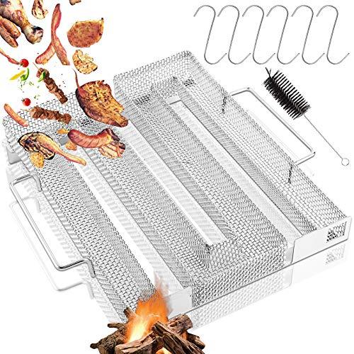 Kaltrauchgenerator, Kaltrauch Kaltraucherzeuger, Cold Smoke Generator, Meat Smoker, Food Smoker und BBQ Grill Zubehör mit Bürste und Haken für Kugelgrill BBQ Räucherofen (22,5 x 17,5 x 4,5 cm)