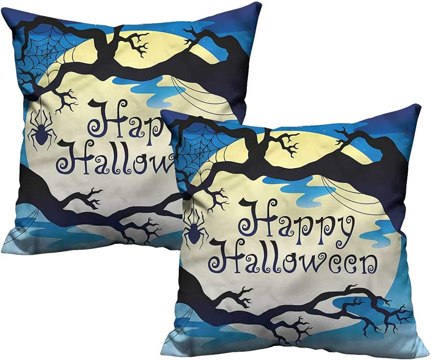 ParadiseDecor Halloween,Square Pillowcase Spooky Night with Moon 24 x 24 x2 Soft Toddler Pillowcases Set of 2