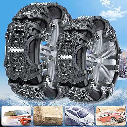 BtctoMoon Cadenas de Nieve para Coche, 6 Pcs Universales Cadenas Nieve de 165-285 mm, Espesar y ensanchar Cadenas de Nieve para Llantas para Automóviles para Cualquier Coche, con Herramientas