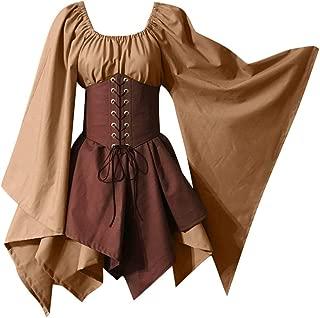 Goddessvan Halloween Women Medieval Cosplay Costumes Gothic Retro Long Sleeve Corset Dress