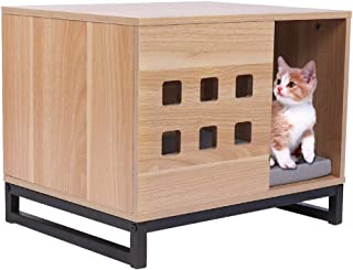 BBVILLA Rectangle Wooden Pet House Cat Boxes Furniture Log Cabin with Entrance and Vents Indoor KennelCondos for Small Dogs/Pets/Cats with Bed Mat