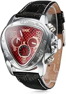 Men's Automatic Mechanical Triangle Dial Leather Band Wrist Watch - Red