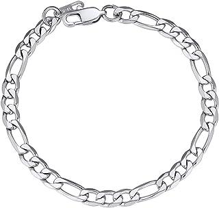 "ChainsPro Men Sturdy Figaro/Cuban Chain Bracelet, 6/9/13mm Width, 7.48/8.26"" Length, 316L Stainless Steel/18K Gold Tone/Black- Send Gift Box"