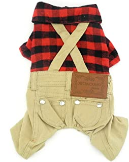 SMALLLEE_LUCKY_STORE Pet Clothes for Small Dog Cat Red Plaid Shirts Sweater with Khaki Overalls Pants Jumpsuit