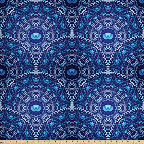 Ambesonne Navy Blue Fabric by The Yard, Circular and Floral Alike Oriental Style Patterned Design Artwork, Decorative Fabric for Upholstery and Home Accents, 1 Yard, Blue Navy