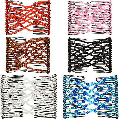 Boao 6 Pieces Beads Hair Combs Magic Elastic Hair Clips Stretchy Hair Comb Double Clips for Women Girls Hair Accessory (Color Set 1, 9 x 7 cm)