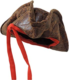 Jacobson Hat Company Child Sized Carribean Pirate Costume Tri-Corner Distressed Brown Hat