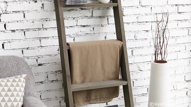 MyGift 4.5 ft Wall Leaning Ladder-Style Vintage Grey Wood Blanket Rack