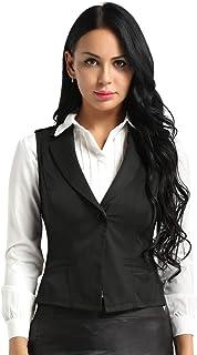 MSemis Women's Slim V-Neck Sleeveless Waistcoat Formal Dressy Business Suit