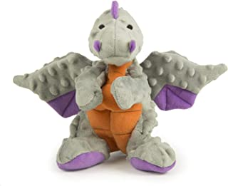 goDog 770974 Dragons with Chew Guard Technology Durable Plush Squeaker Dog Toy, Large, 1 Count, Gray