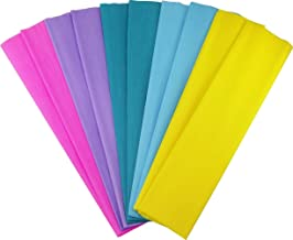 Crepe Paper Folds (10 pcs) - 20 inches Wide by 6.2 ft Long - Mexican Crepe Paper - Assorted Colors (Pastel Colors)