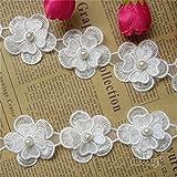 1 metre Fleur Perle Dentelle ruban 4.5 cm de largeur Style vintage Blanc cassé bordures garnitures Tissu...