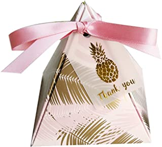 Colias Wing 50 pcs Lovely Golden Pineapple Leaves Pattern Pyramid Shape Stylish Design Wedding Birthday Party Favor Candy Boxes with Ribbon