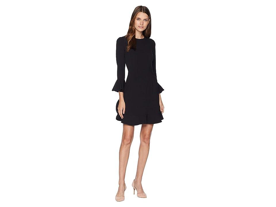 JILL JILL STUART Ruffle Hem and Sleeve Detail Dress (Black) Women