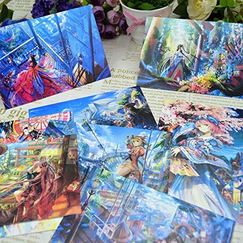 8 brillantes y hermosas tarjetas postales japonesas pintadas a mano con textura súper hermosa