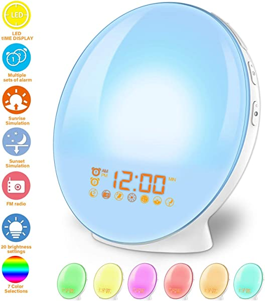 Wake Up Light Alarm Clock Lamp Alarm Clock Radio Sunrise Alarm Clock Fading Sunset With 7 Colors Sleep And Wake Up With PM Radio Light Alarm Clock Alarm Clock For Sleep Kids Adults White